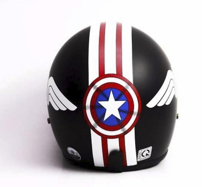 Mũ Bảo Hiểm Bopa 3/4 Tem Phượt Cao Cấp Caption Captain American