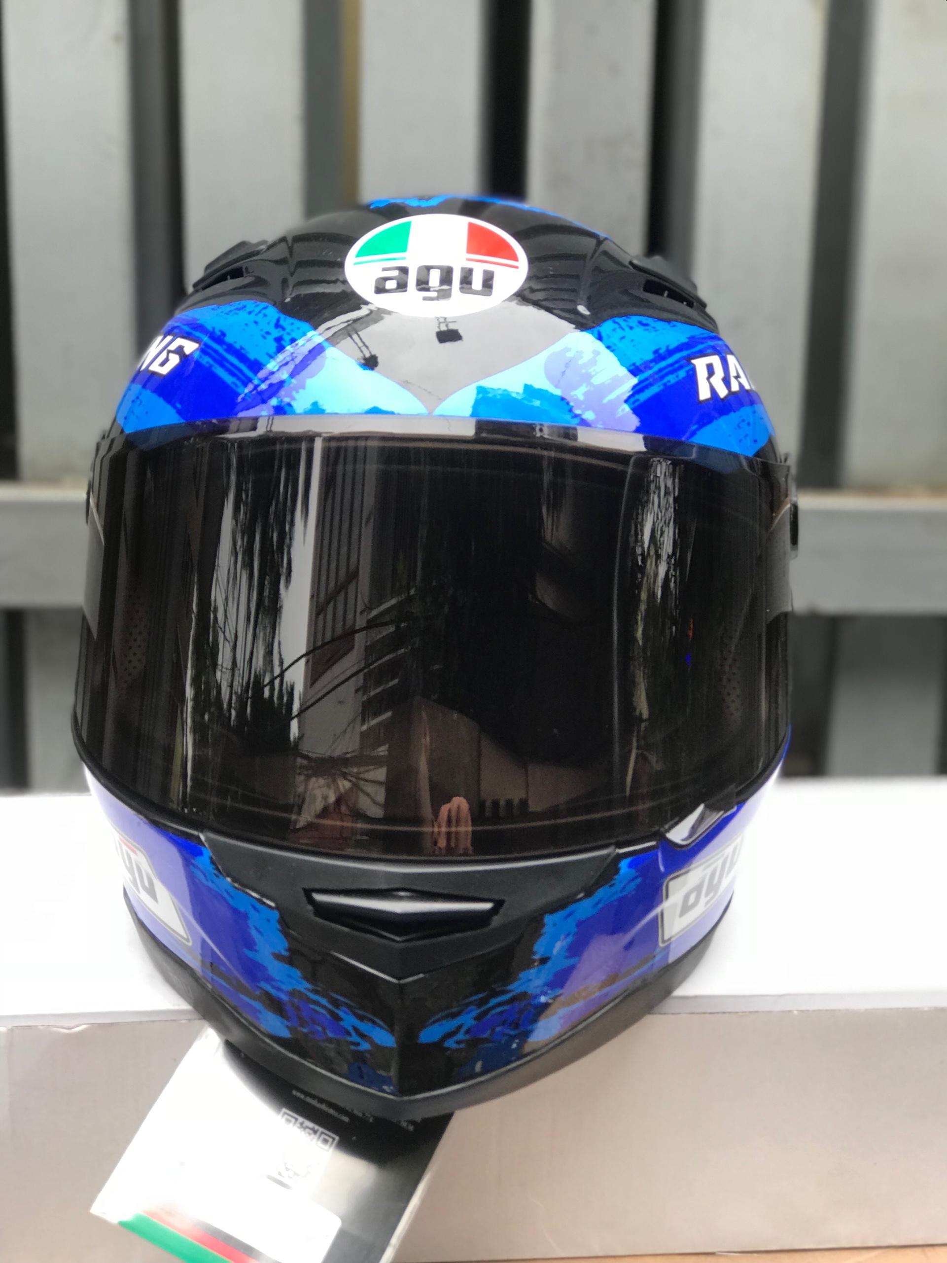 ( freeship bảo hành 24 tháng ) mũ nón AGU tem Racing energy xanh nước biển (hàng chính hãng)
