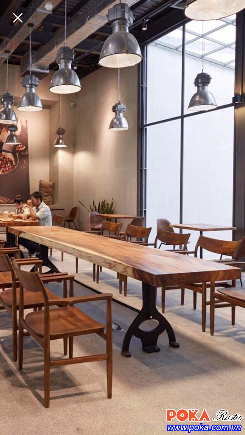 Mặt bàn gỗ tự nhiên nguyên khối cho nhà hàng