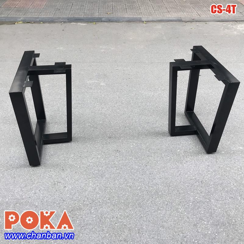 Chân bàn sắt hộp dùng cho mặt bàn gỗ tự nhiên nguyên khối