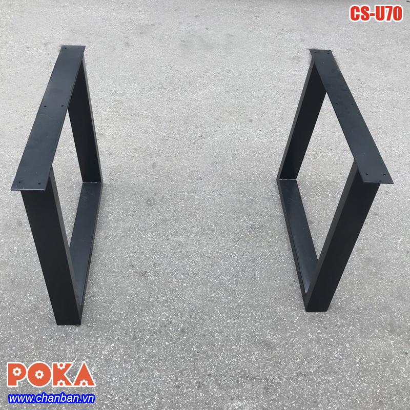 Chân bàn ăn gỗ tự nhiên nguyên khối bằng sắt hộp