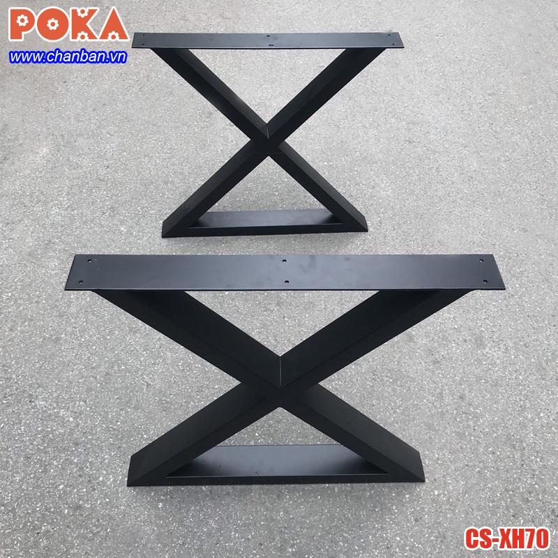 Chân bàn ăn gỗ nguyên tấm bằng sắt hộp