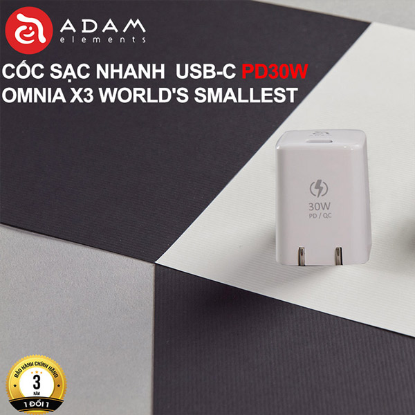 CỐC SẠC NHANH USB-C PD30W ADAM ELEMENT