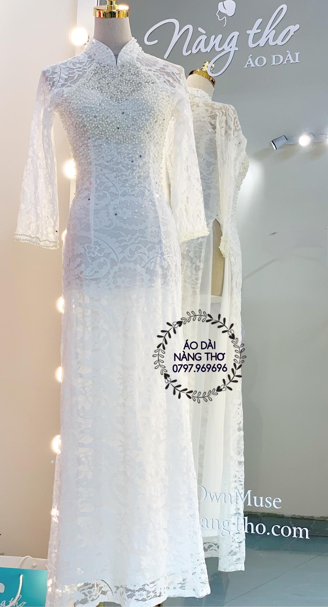 Áo dài cưới cô dâu ren trắng đính hạt