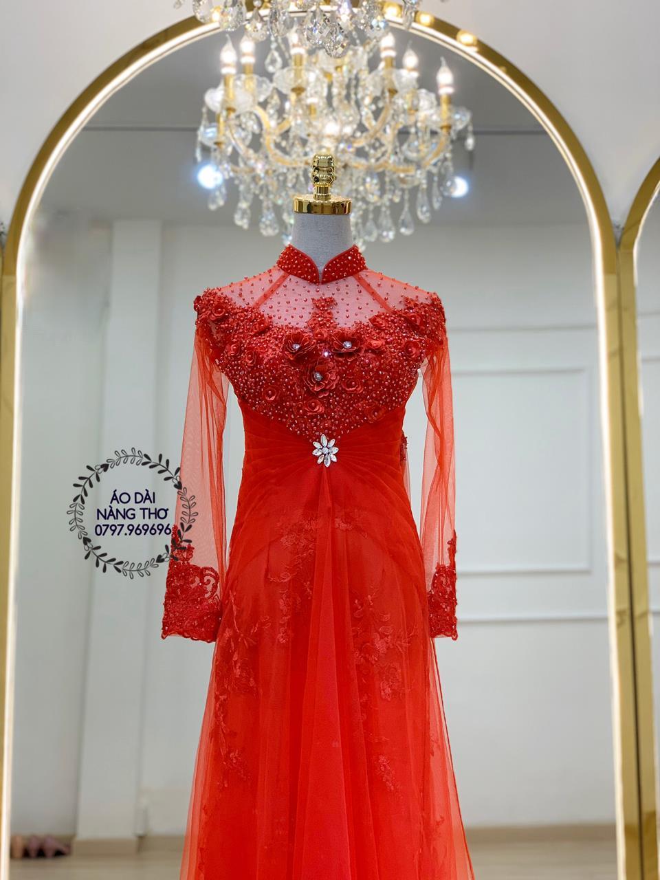 Áo dài cưới cô dâu ren đỏ
