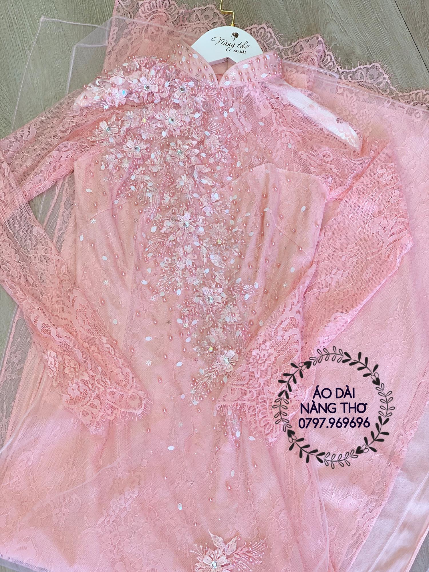 Áo dài màu hồng đám hỏi