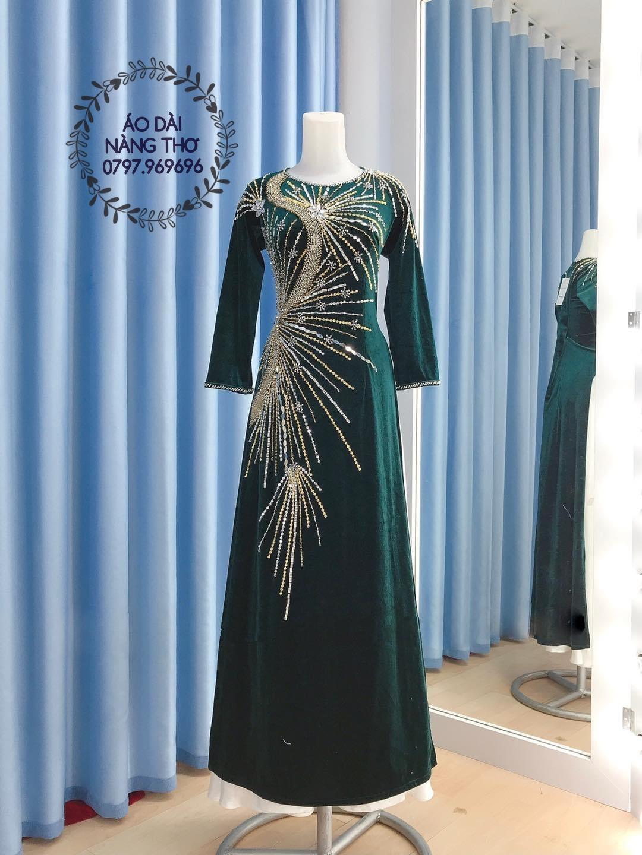 Áo Dài Bà Sui Ren Lưới Màu Xanh Kết Hạt Cao Cấp