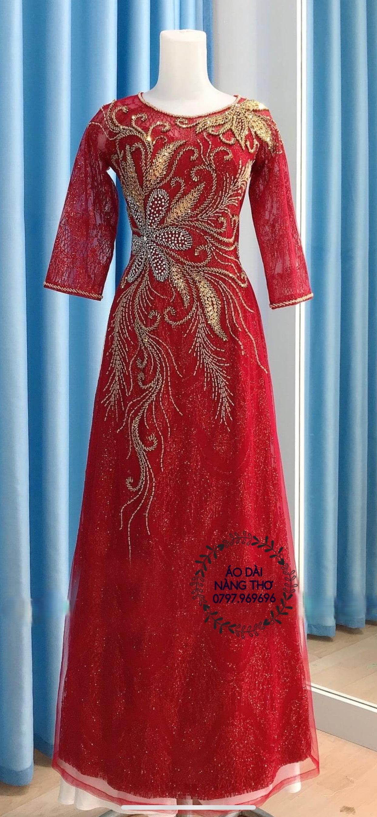 Áo Dài Bà Sui Ren Lưới Đỏ Đô Kết Họa Tiết Cao Cấp