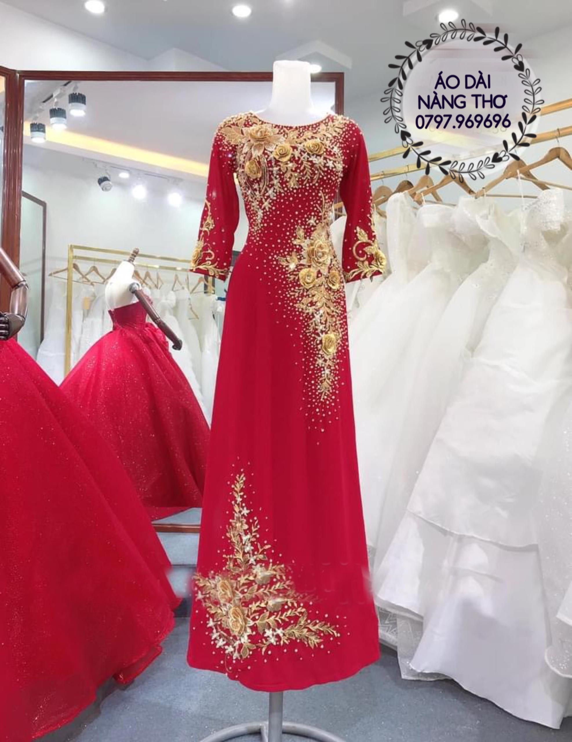 Áo Dài Bà Sui Ren Lưới Màu Đỏ Kết Hạt Pha Lê Cao Cấp
