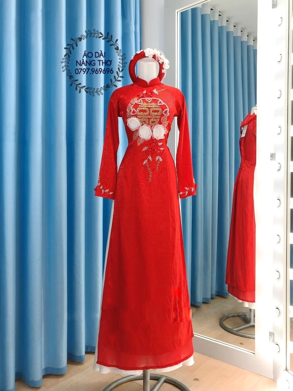 Áo Dài Cô Dâu Gấm Tơ Tằm Đỏ Đính Hạt Cao Cấp Kết Hoa Nổi 3D Chữ Hỉ