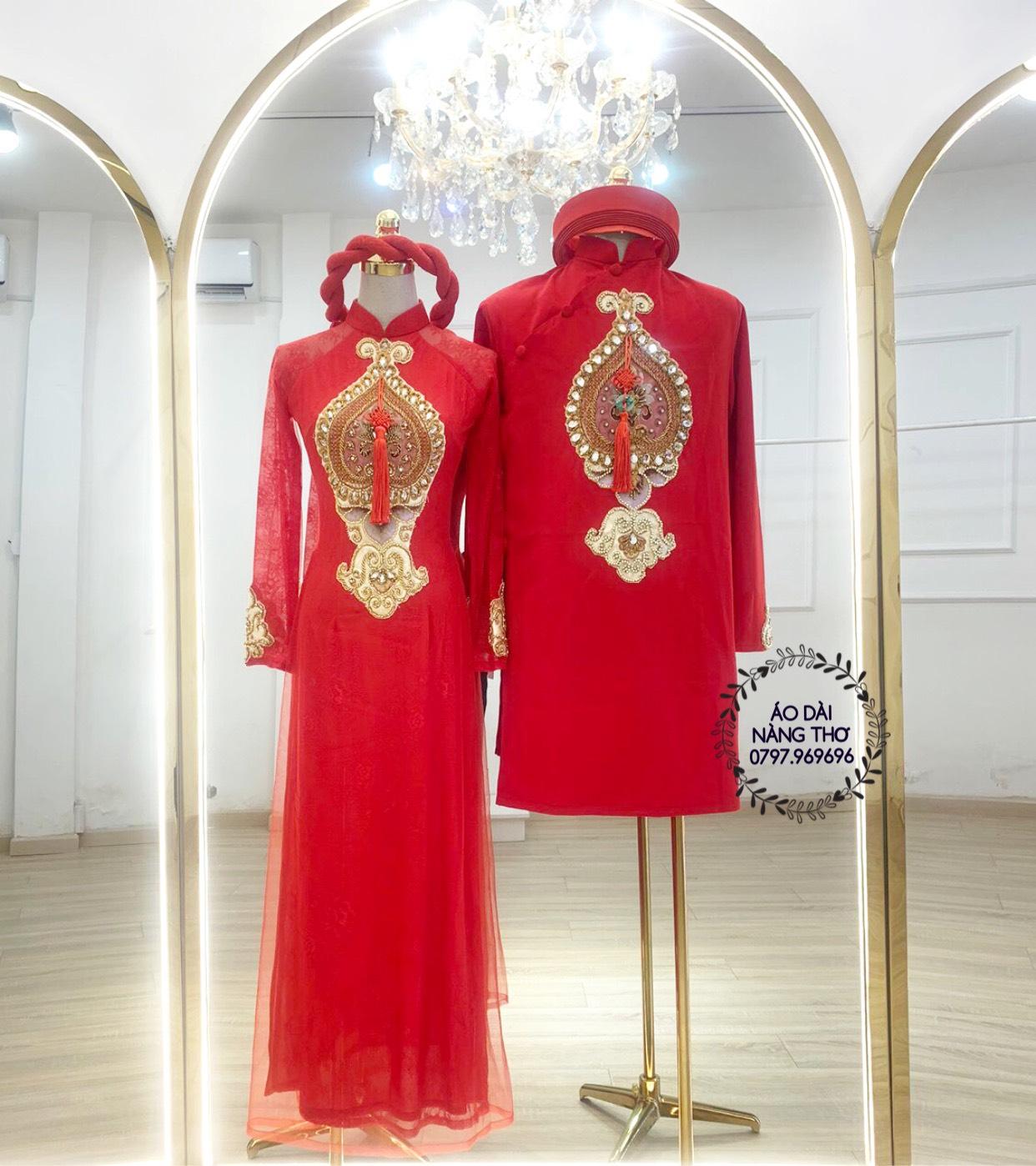 Áo dài Cưới Cặp Gấm Đỏ Kết Họa Tiết Đính Hạt Pha Lê Cao Cấp