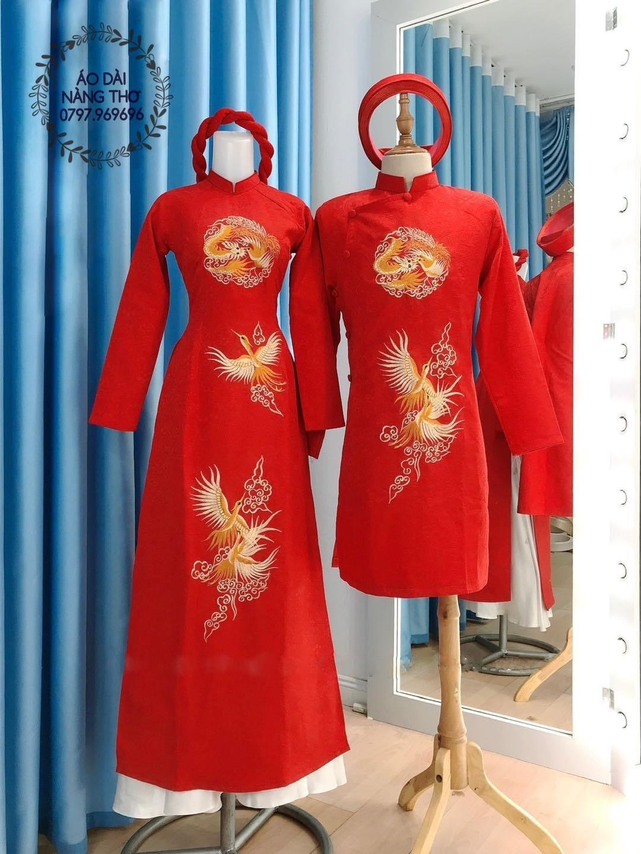 Áo Dài Cưới Cặp Đôi Gấm Đỏ Đính Hạt Cao Cấp