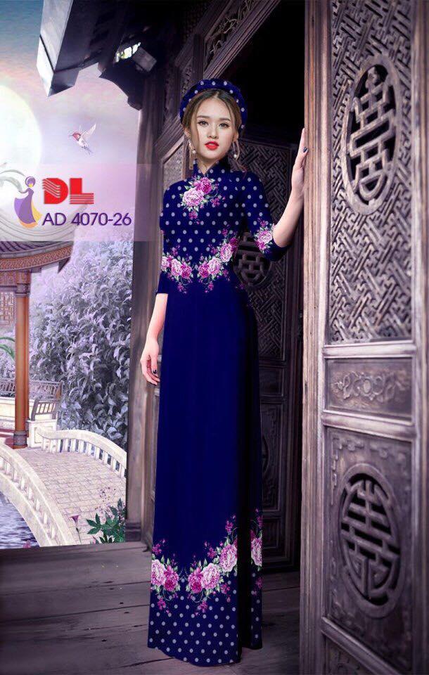 Áo Dài Lụa in hình hoa màu tím