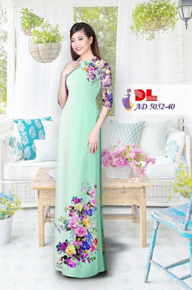Áo Dài Lụa in hình hoa màu xanh