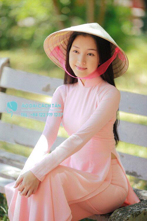 Áo dài hồng trơn