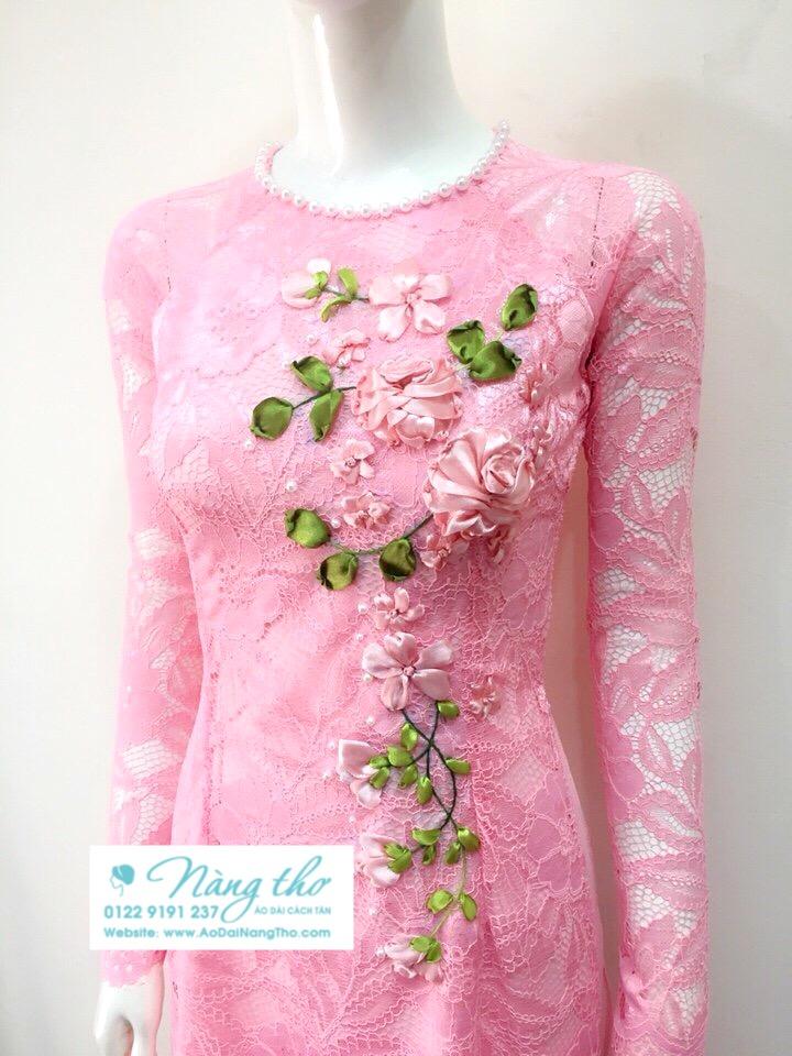 Áo dài ren hồng mẫu mới nhất
