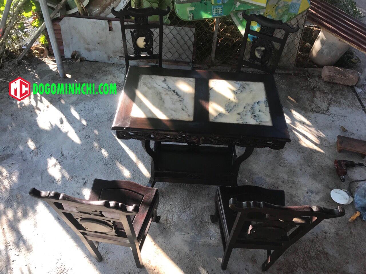 Bộ bàn ghế ăn mặt đá chạm trúc 1