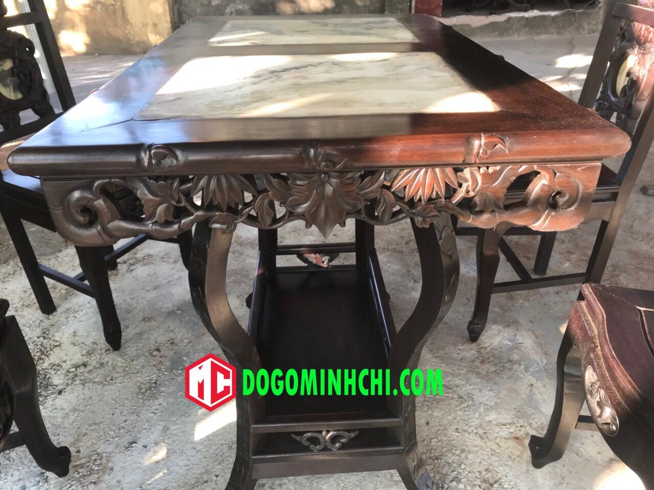 Bộ bàn ghế ăn mặt đá chạm trúc 3