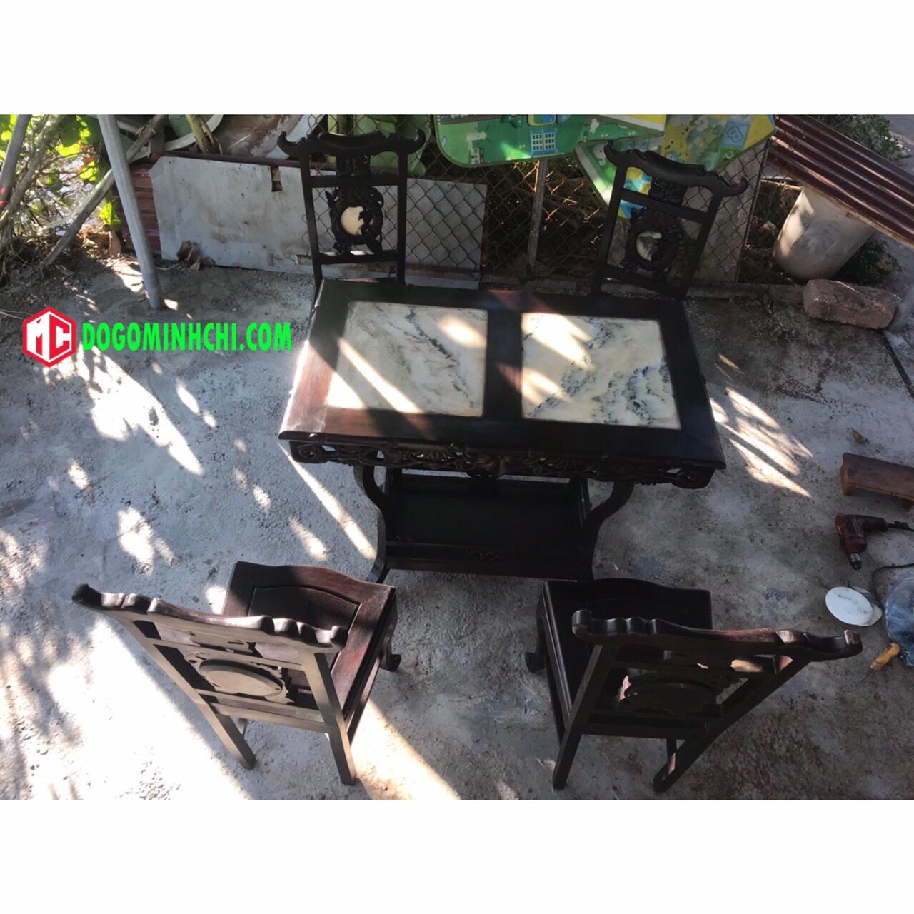 Bộ bàn ghế ăn mặt đá chạm trúc 4