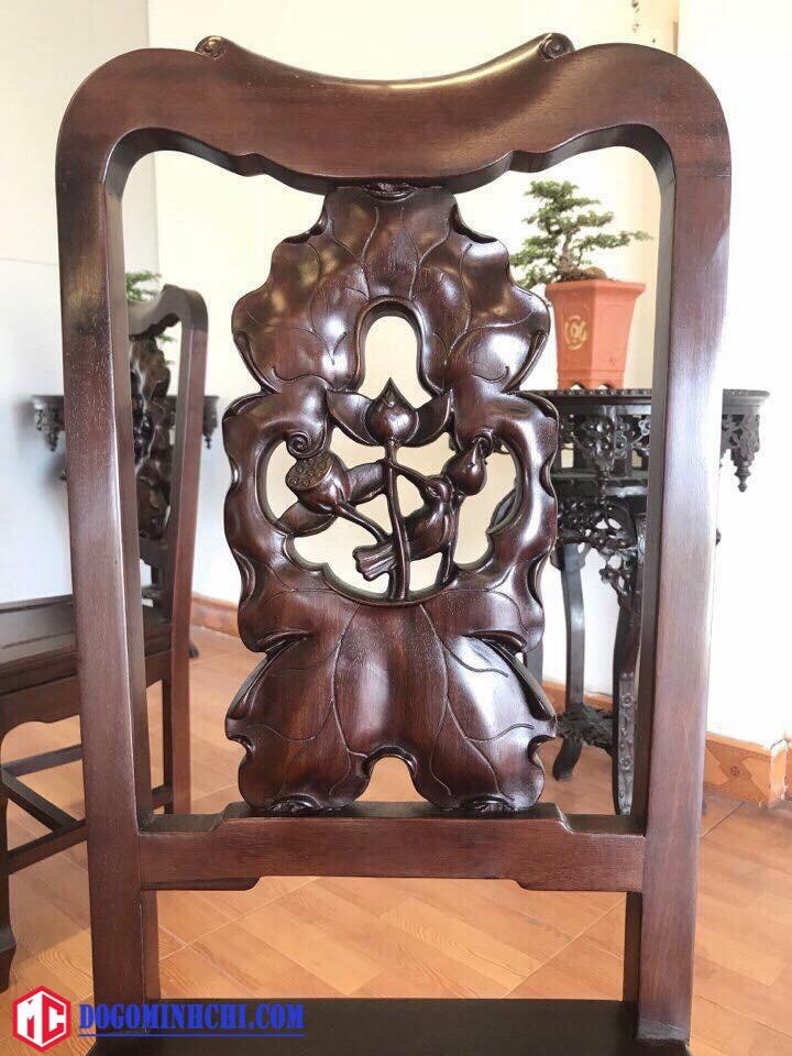 Bộ bàn ghế ăn chạm sen mặt đá 2