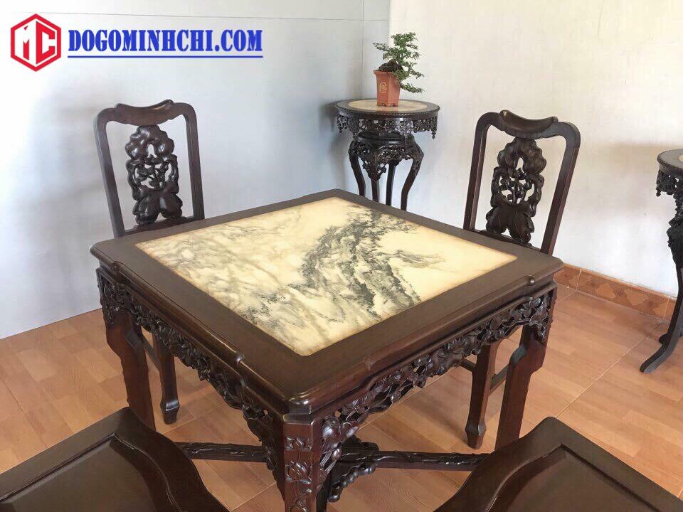 Bộ bàn ghế ăn chạm sen mặt đá 3