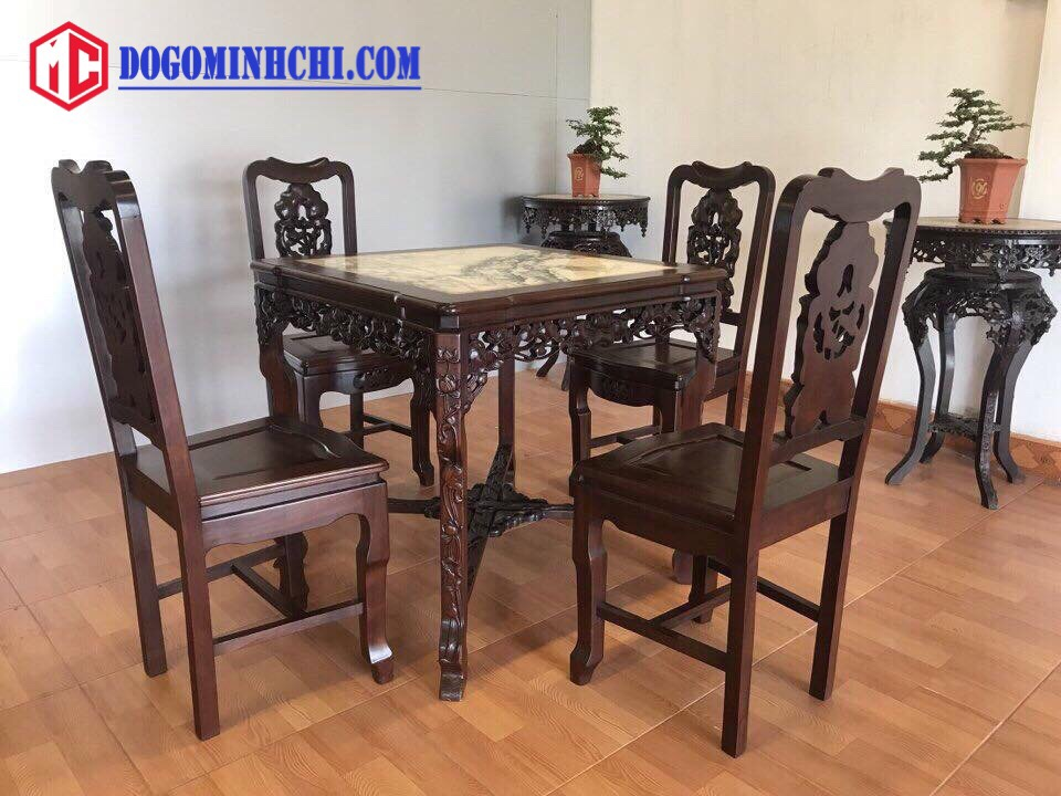 Bộ bàn ghế ăn chạm sen mặt đá 4