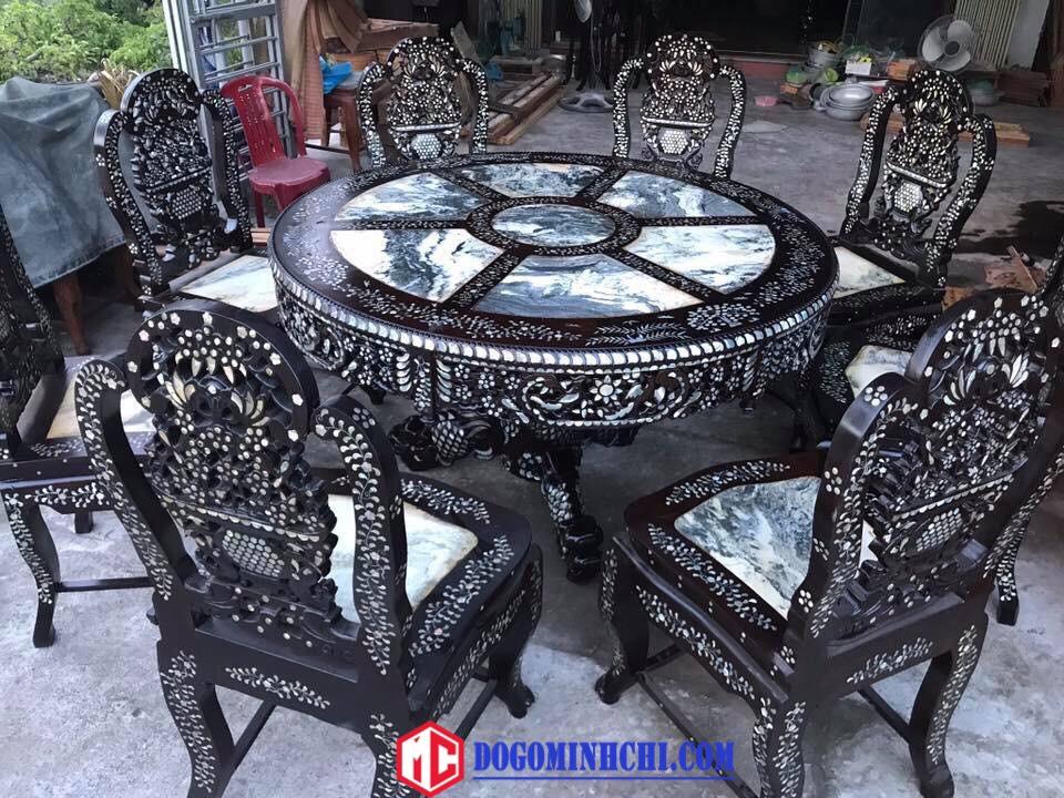Bộ bàn ghế ăn bàn xoay khảm cẩn ốc 4