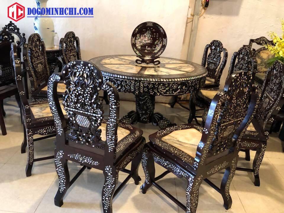 Bộ bàn ghế ăn bàn xoay khảm cẩn ốc 2