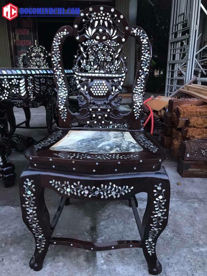 Bộ bàn ghế ăn bàn xoay khảm cẩn ốc 3