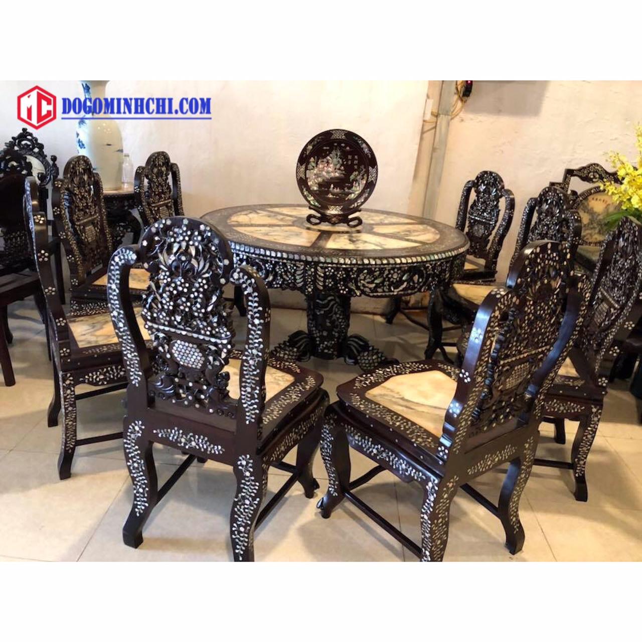 Bộ bàn ghế ăn bàn xoay khảm cẩn ốc 8