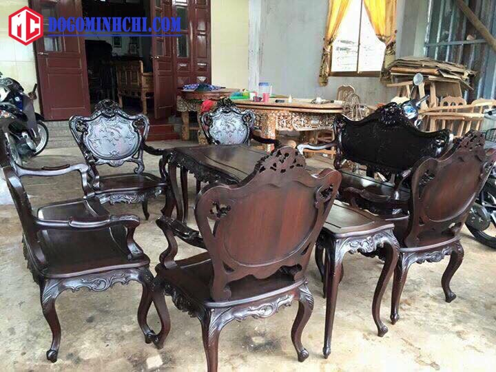 Bộ bàn ghế luois lối pháp 9 món gỗ gụ 3