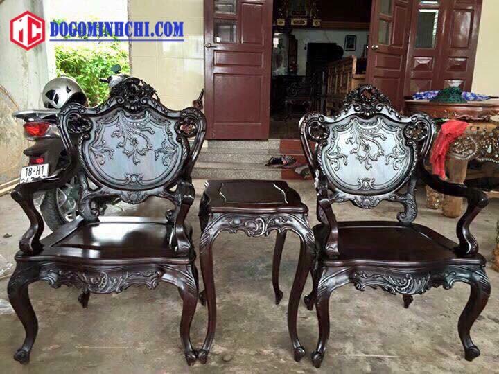 Bộ bàn ghế luois lối pháp 9 món gỗ gụ 4