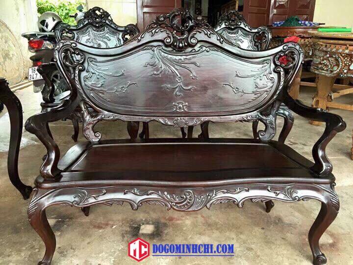 Bộ bàn ghế luois lối pháp 9 món gỗ gụ 5