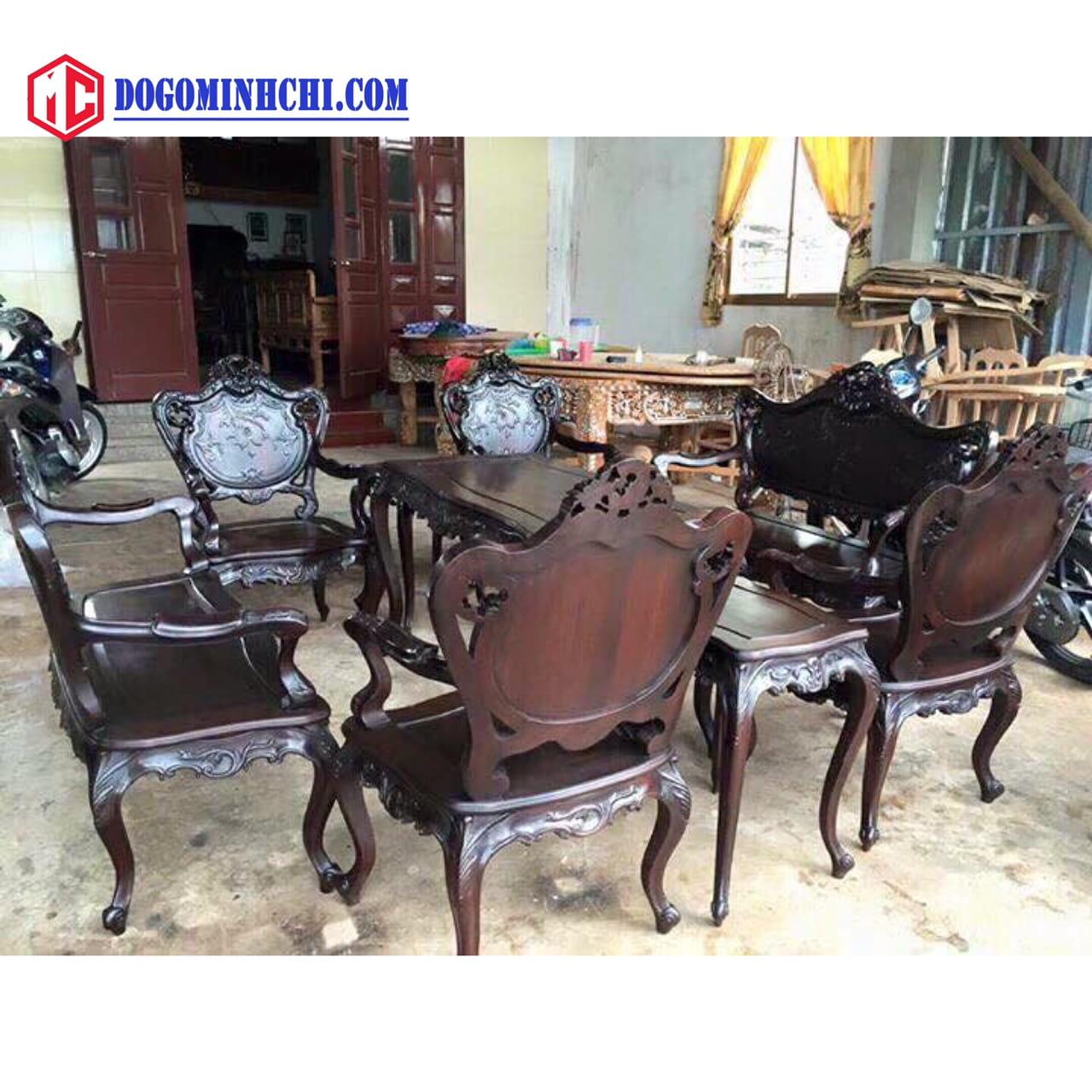 Bộ bàn ghế luois lối pháp 9 món gỗ gụ 1