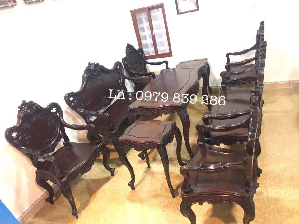 Bộ bàn ghế louis Pháp 9 món 7