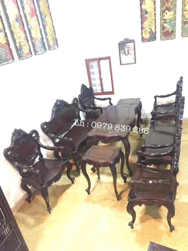 Bộ bàn ghế louis Pháp 9 món 8