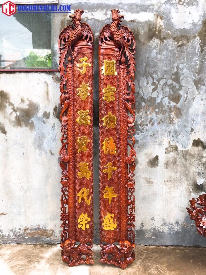 Bộ cuốn thư câu đối gỗ gụ sơn thiếp tỉ mỉ 6