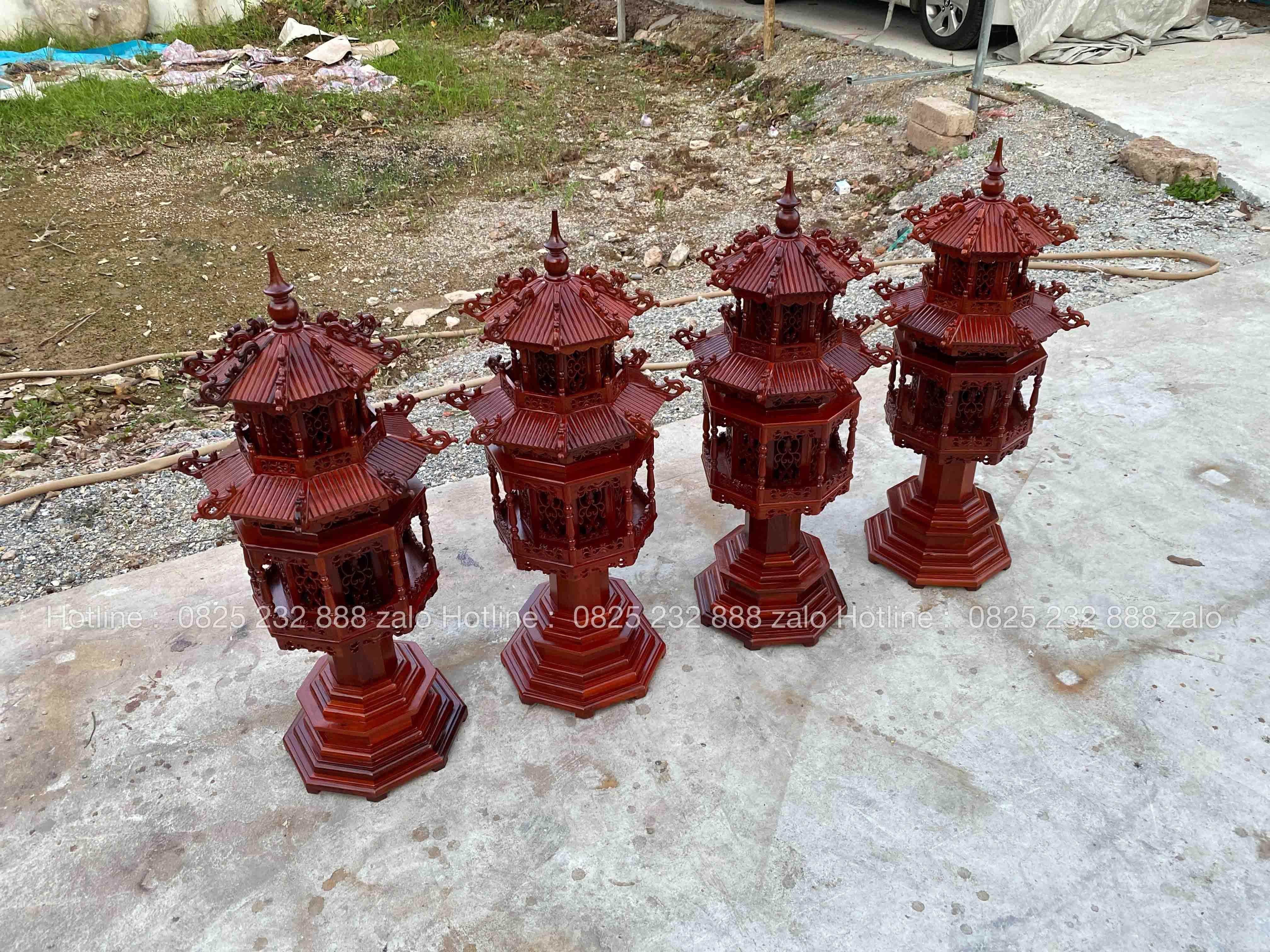 Đèn Lục Lăng Gỗ Hương Đá Đẹp 6