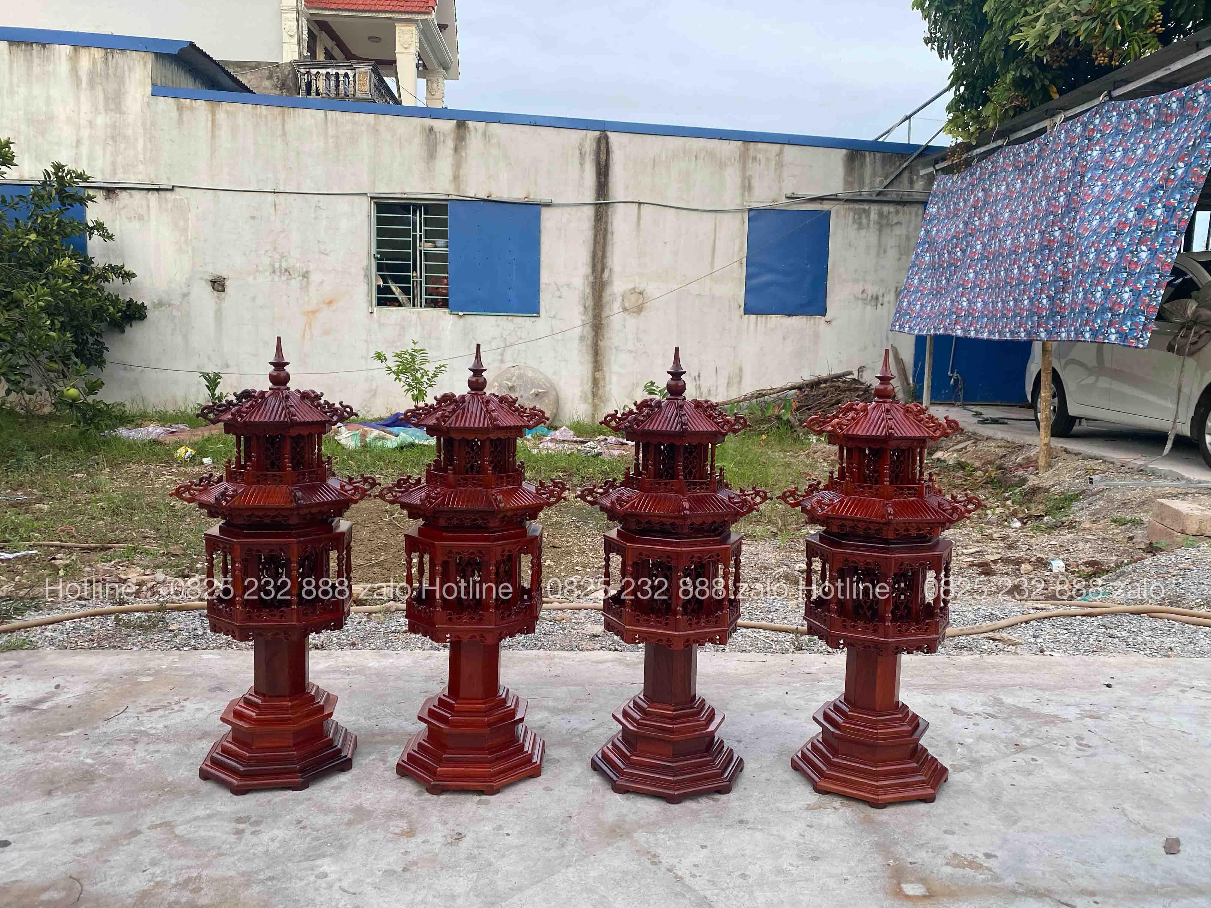 Đèn Lục Lăng Gỗ Hương Đá Đẹp 1
