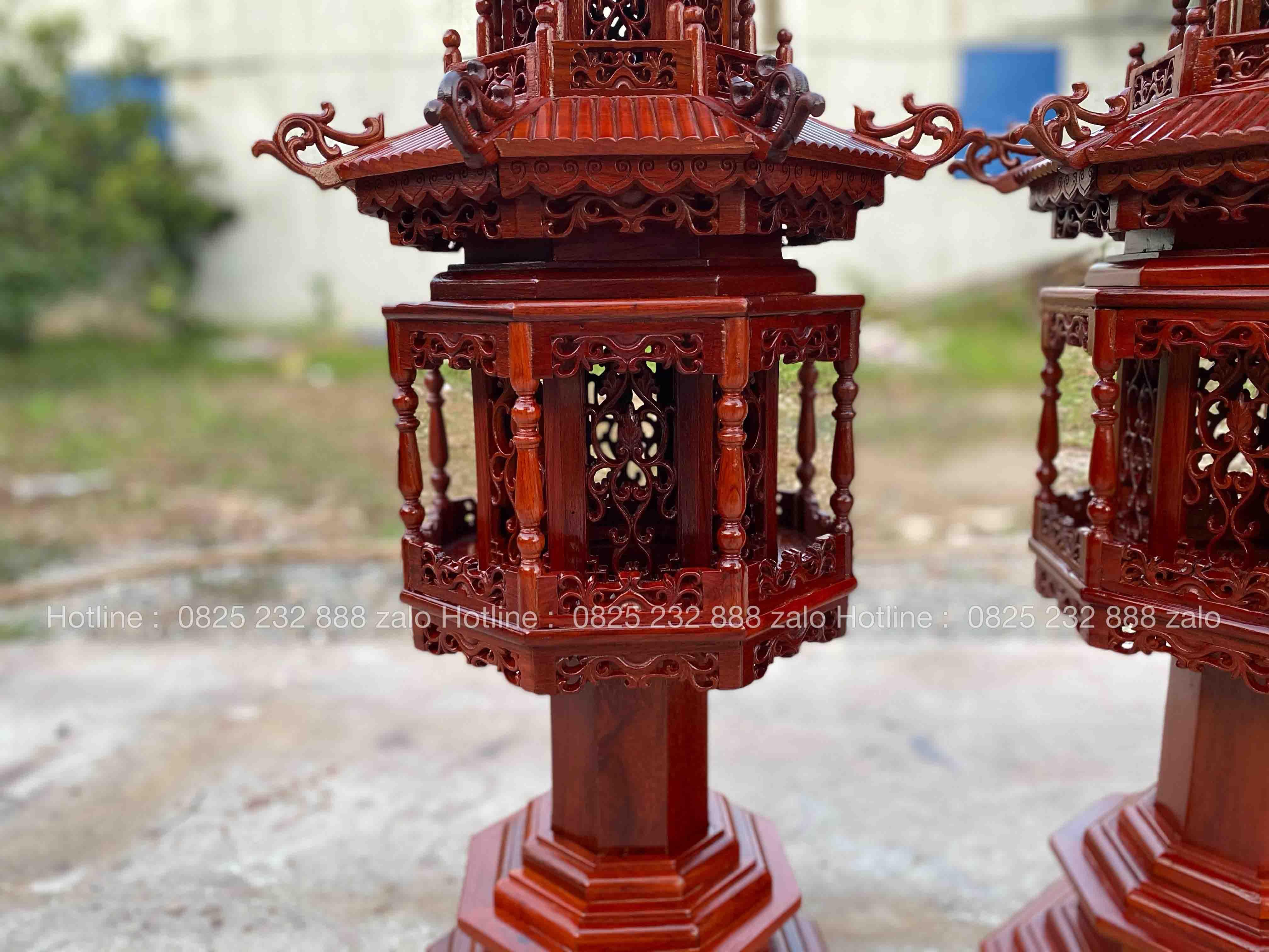 Đèn Lục Lăng Gỗ Hương Đá Đẹp 3