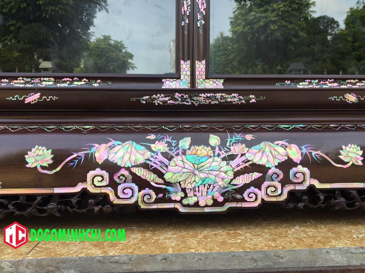 Tủ chè khảm ốc liên chi gỗ gụ hàng đẹp 6