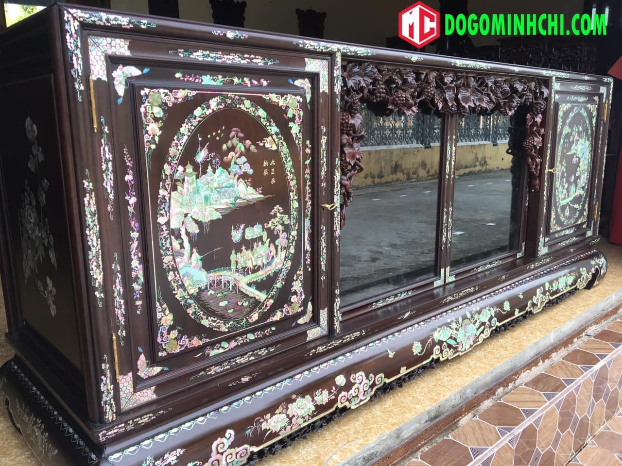 Tủ chè khảm ốc liên chi gỗ gụ hàng đẹp 9