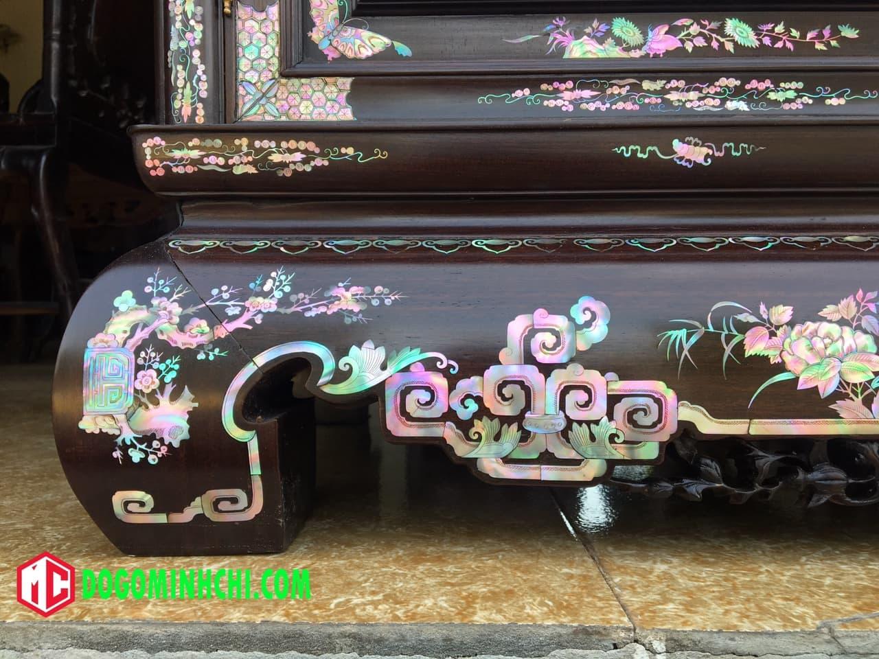 Tủ chè khảm ốc liên chi gỗ gụ hàng đẹp 11