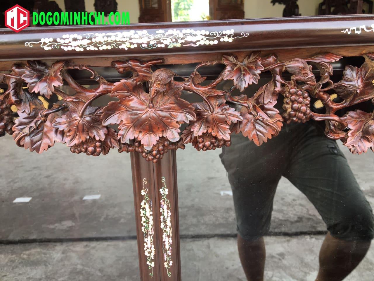Tủ chè khảm ốc liên chi gỗ gụ hàng đẹp 7
