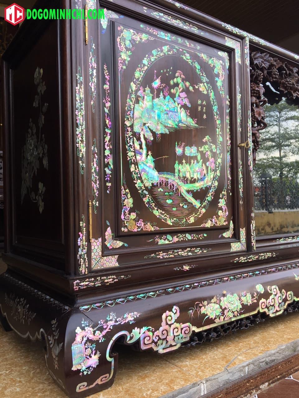 Tủ chè khảm ốc liên chi gỗ gụ hàng đẹp 3