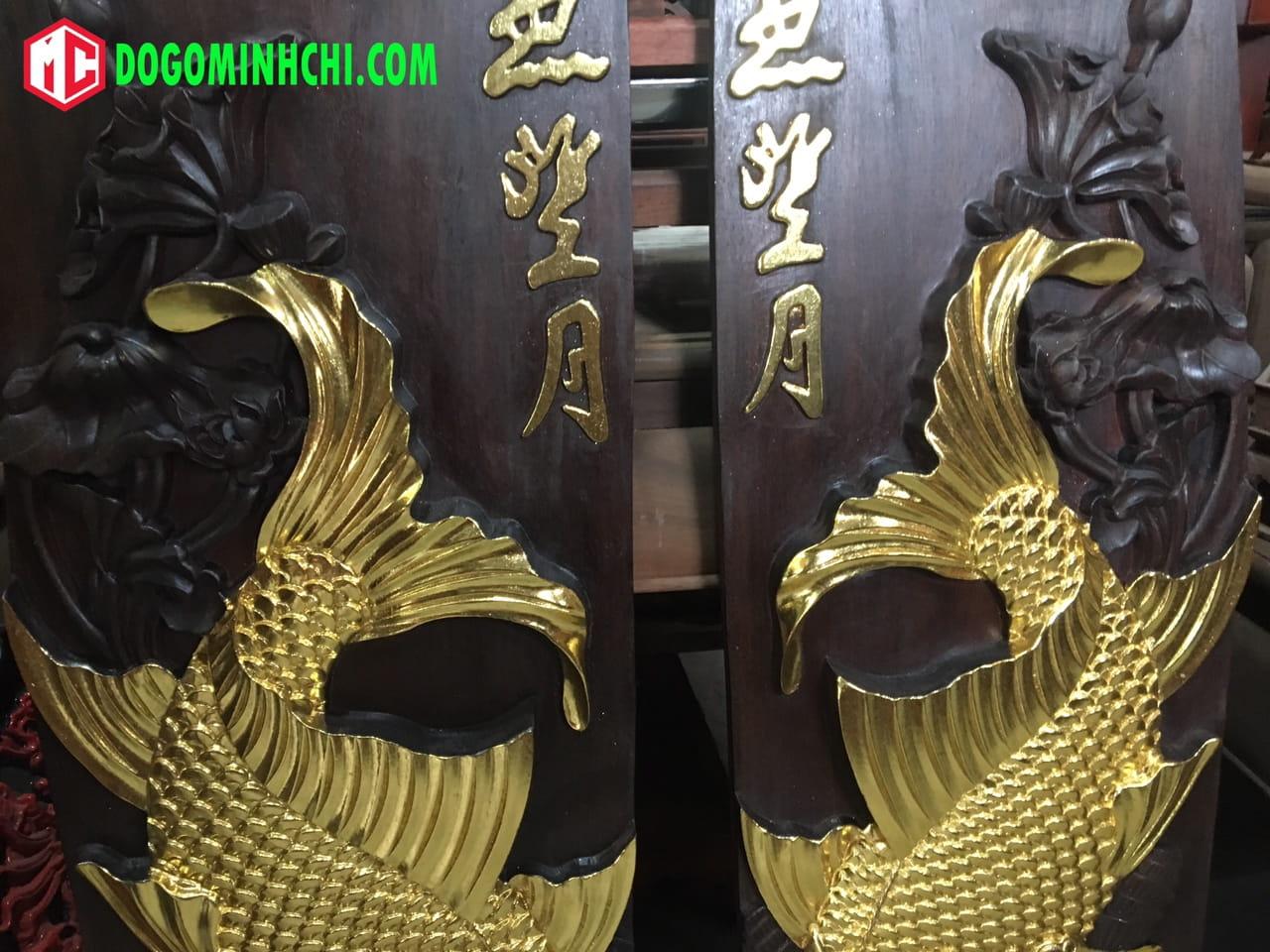Tranh cá chép sơn thiếp vàng gỗ gụ 4