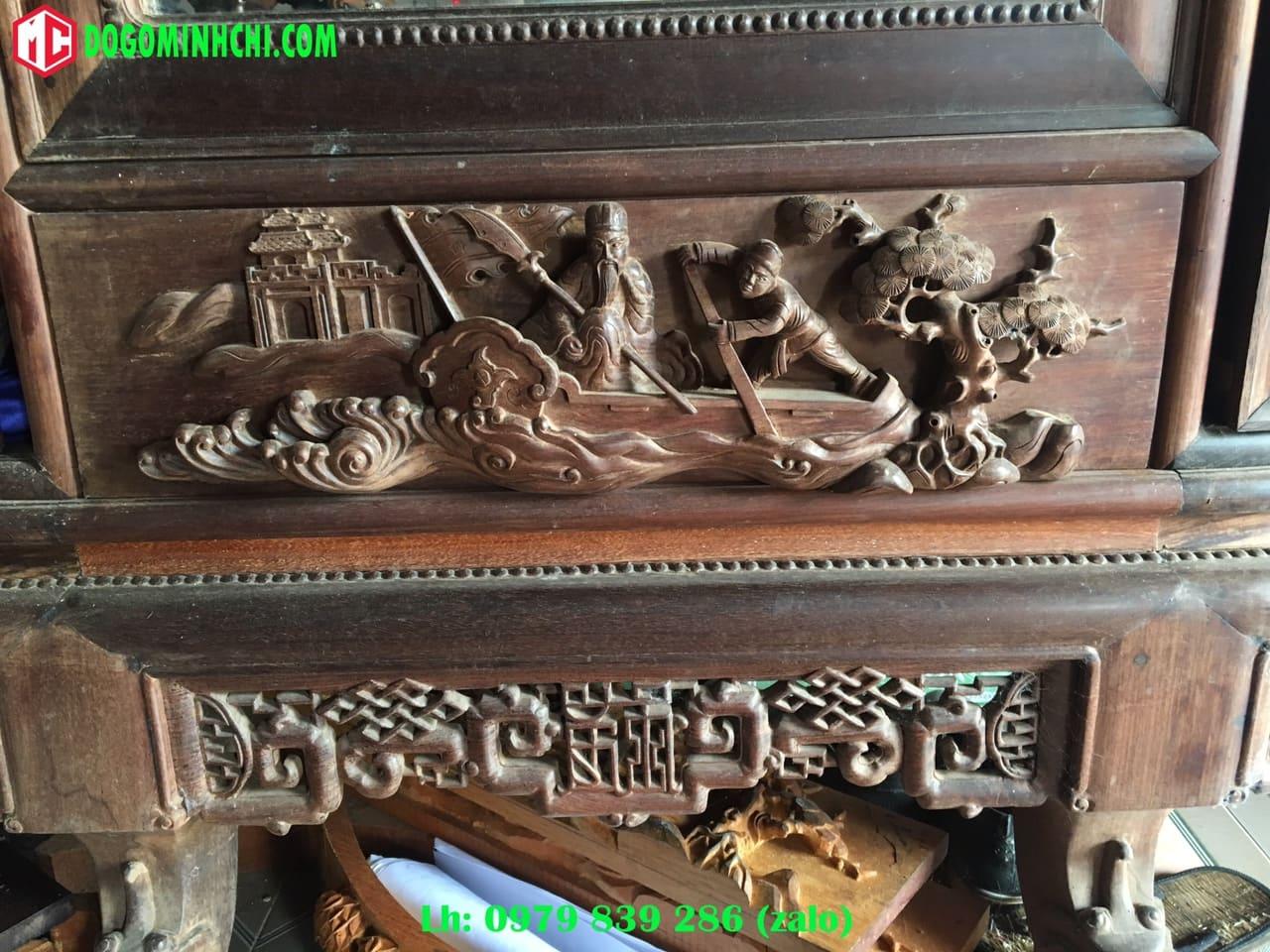 Tủ chùa trạm tích gỗ gụ cũ 2