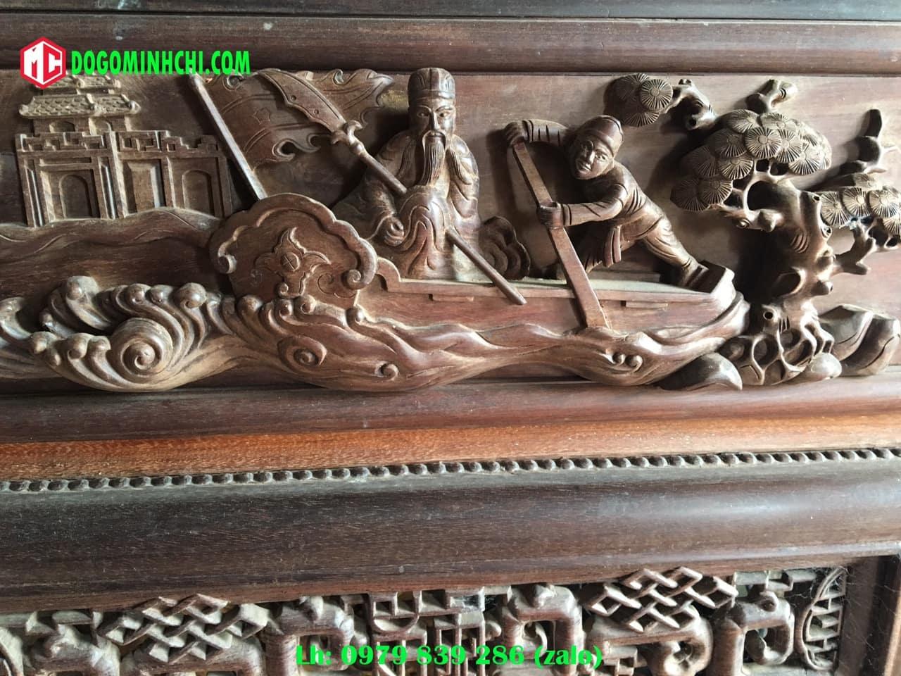 Tủ chùa trạm tích gỗ gụ cũ 8