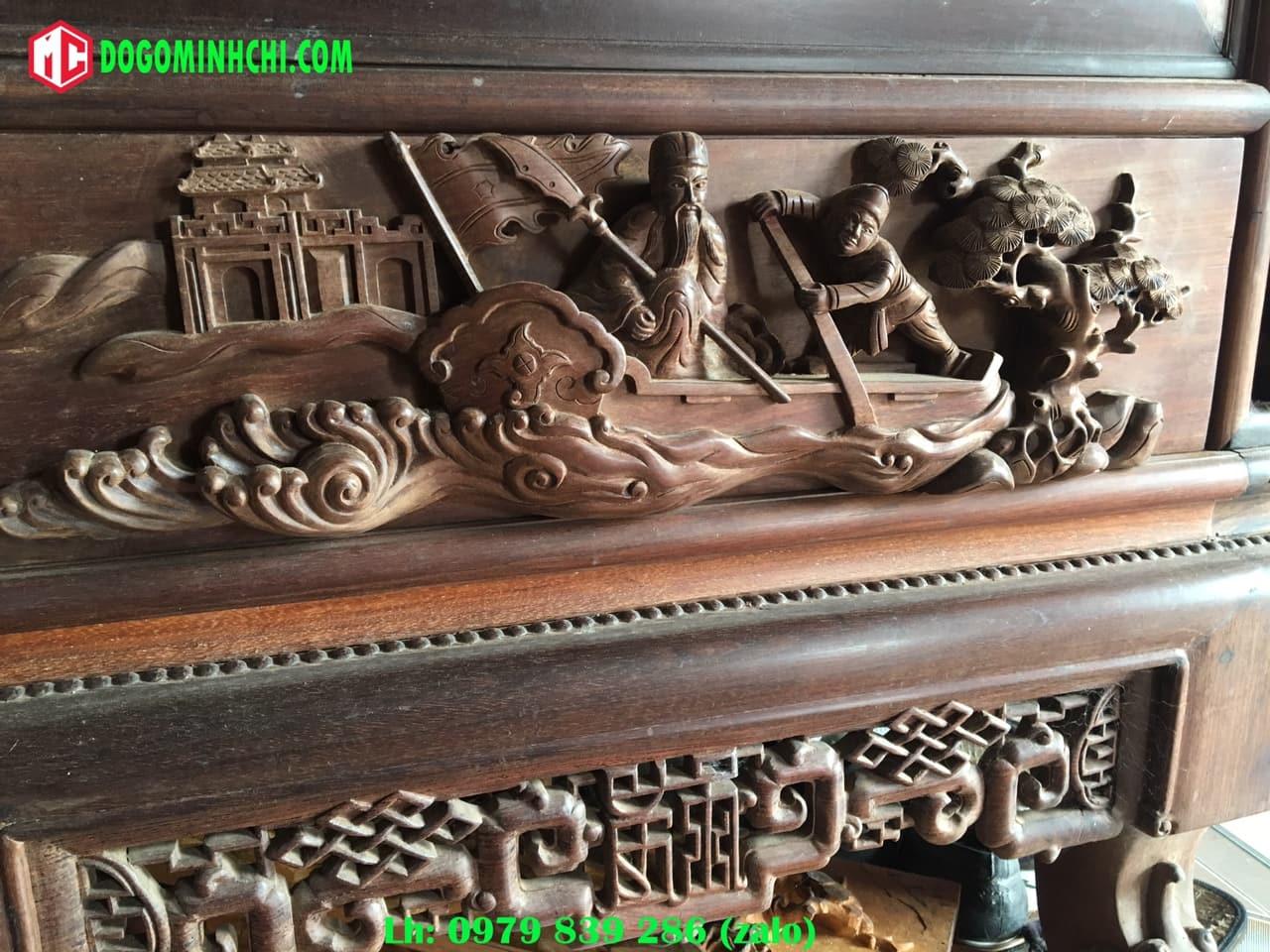 Tủ chùa trạm tích gỗ gụ cũ 5