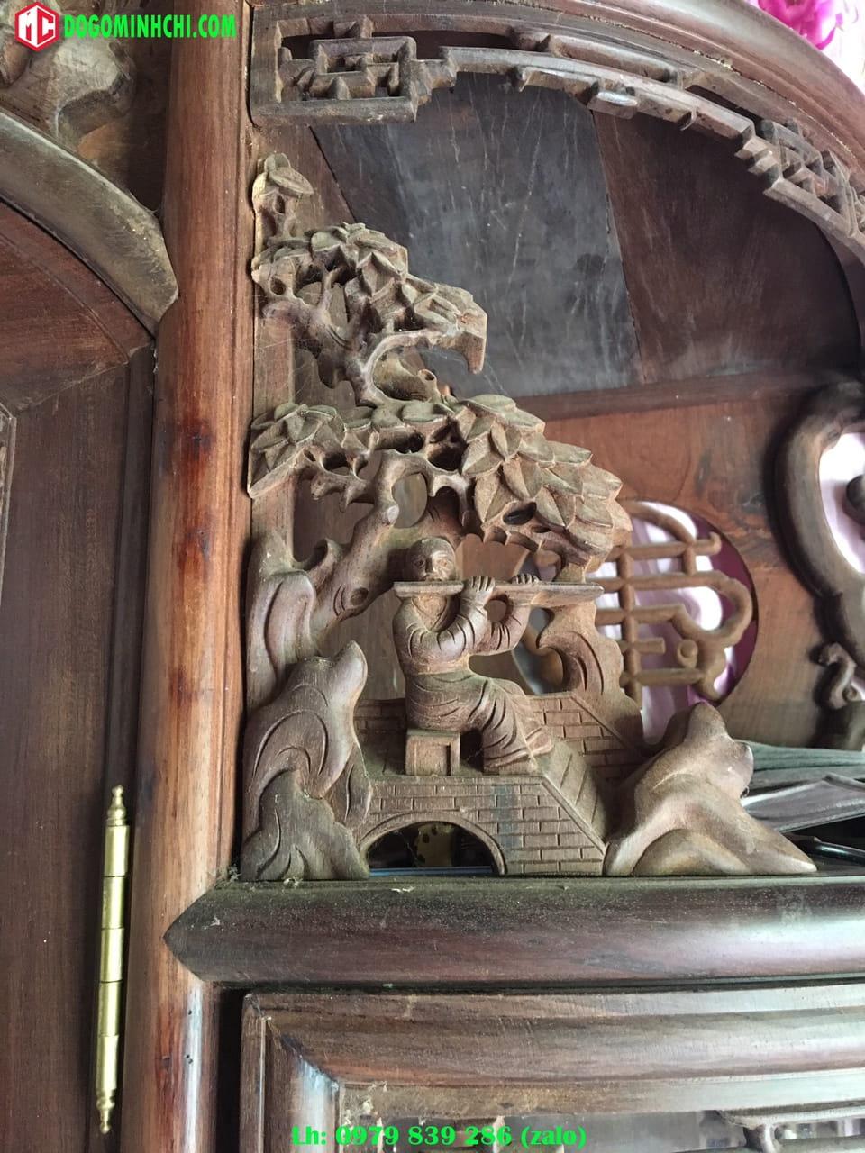 Tủ chùa trạm tích gỗ gụ cũ 7